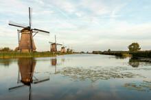 Kinderdijk Canals With Windmills