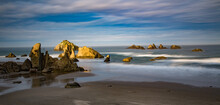 Morning Light On Sea Stacks And Face Rock On Bandon Beach On The Southern Oregon Coast.