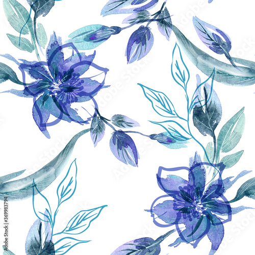Tapeta niebieska  floral-seamless-pattern-on-abstract-background-hand-painted-illustration