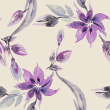 Floral Seamless Pattern. Watercolor Illustration.
