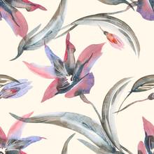 Lilies Seamless Pattern. Water...