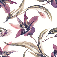 Floral Seamless Pattern On Abstract Background. Hand Painted Illustration.