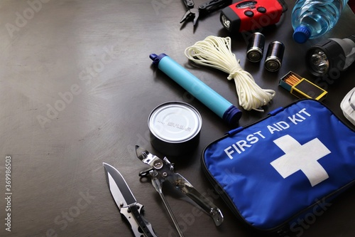 Photo A survival kit is useful to have in the event of an emergency such as floods,fires,earthquakes,hurricanes and other natural disasters