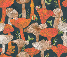 Mushrooms Seamless Pattern, Fungi Creative Background, Fall Backdrop