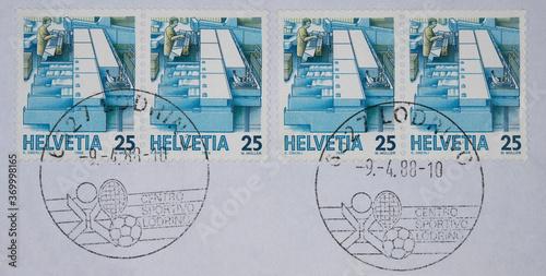 Obraz na plátně vintage retro alt old briefmarken stamp post letter mail gestempelt used schweiz