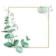 Leinwanddruck Bild - golden glitter frame with watercolor eucalyptus leaves isolated on white background. design for weddings, invitations, cards. vintage logo for perfumery, cosmetics