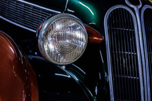 Black Retro Car. Front View