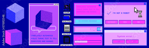 Fototapeta Old user interface windows, retro message box with buttons. Vaporwave and retrowave style elements. obraz