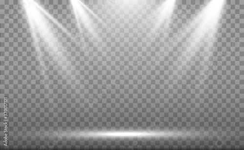 Obraz White scene on with spotlights. Vector illustration. - fototapety do salonu