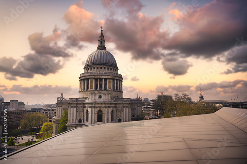 Dusk over St. Paul's Cathedral in Central London, UK. Canvas Print