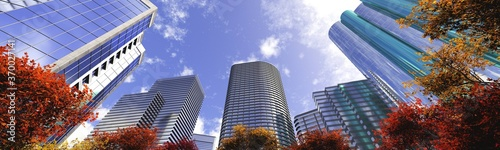 Obraz Skyscrapers on the background of the sky bottom view, modern high-rise buildings, autumn in the city, 3D rendering - fototapety do salonu