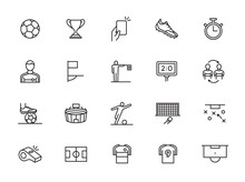 Minimal Soccer Line Icon Set