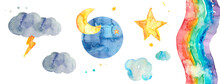 Weather Set Icons Watercolor, ...