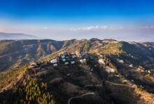 Aerial View Of The Historical Site - Namo Buddha, Where Buddha Shakyamuni, Being In A Previous Incarnation, Sacrificed Himself For The Sake Of Hungry Of Tigress Cubs. Himalayan Range On Horizon, Also