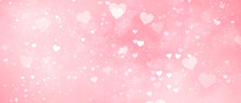 Pink Romantic Delicate Light Pink Background With Hearts And Bokeh Effect