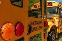 Parked School Busses During Pandemic Landscape