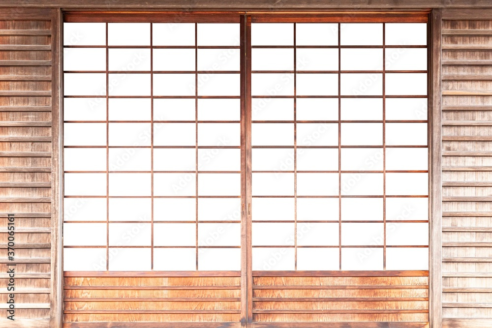 Fototapeta Shoji , Traditional Japanese door,window or room divider consisting isolated on white background