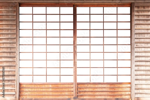 Obraz Shoji , Traditional Japanese door,window or room divider consisting isolated on white background - fototapety do salonu