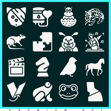 Set Of 16 Pet Filled Icons