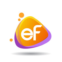Letter EF Logo In Triangle Splash And Colorful Background, Letter Combination Logo Design For Creative Industry, Web, Business And Company.
