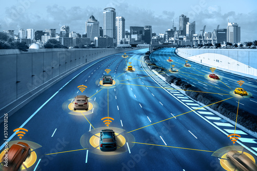 Obraz Autonomous car sensor system concept for safety of driverless mode car control . Future adaptive cruise control sensing nearby vehicle and pedestrian . Smart transportation technology . - fototapety do salonu