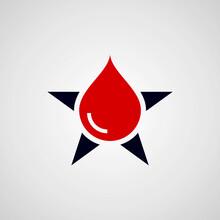 Water Drop Star Logo Vector.