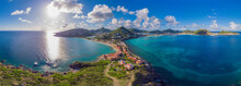 High Aerial View Of The Caribbean Island Of St. Maarten .
