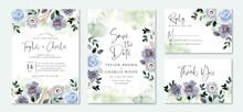 Wedding Invitation Set With Blue Green Flower Garden Watercolor