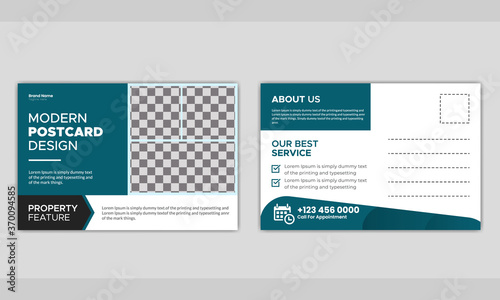 Fototapeta Real estate business postcard template design. obraz