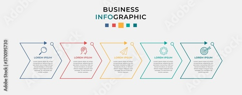 Fototapeta Business Infographic design template Vector with icons and 5 five options or steps. Can be used for process diagram, presentations, workflow layout, banner, flow chart, info graph obraz