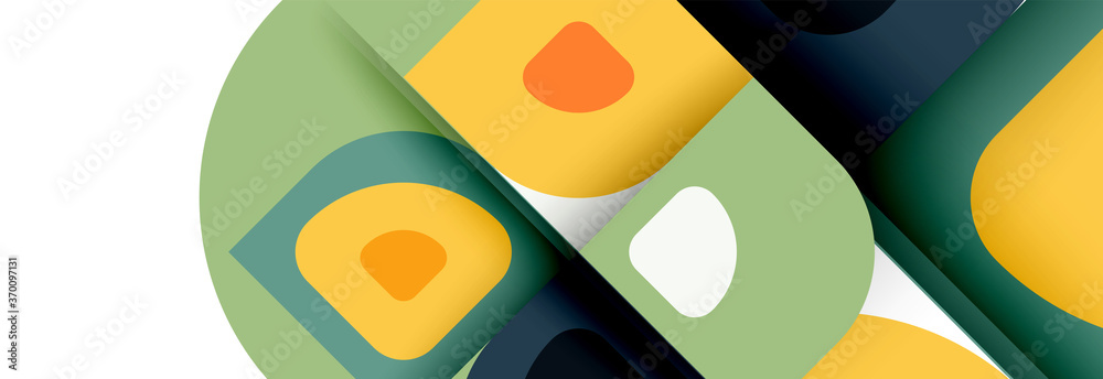 Fototapeta Set of vector modern geometric abstract backgrounds with repeating abstract round shapes patterns and shadow effects