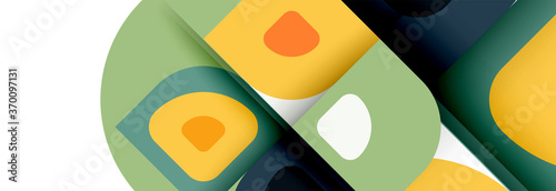Foto Set of vector modern geometric abstract backgrounds with repeating abstract roun