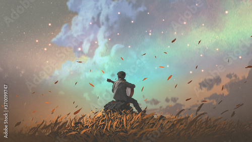 man playing guitar alone in the meadow, digital art style, illustration painting
