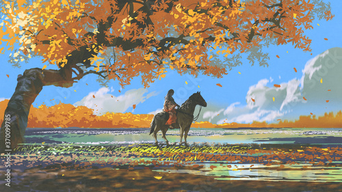 Fototapeta woman sitting on a horse under an autumn tree, digital art style, illustration painting obraz