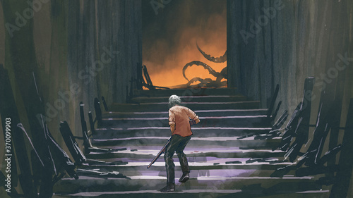 man with a gun walks up the stairs and looking at monster, digital art style, illustration painting
