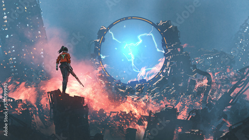 girl with a gun looking at the destroyed futuristic portal in ruin city, digital art style, illustration painting