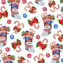 Christmas And New Year Pattern: Socks Snowmen With Sweets, Christmas Balls, Candy Cane.