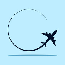 Plane Icon. Travel Around The World AirPlane Icon. Vector Illustration