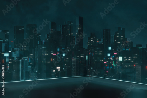 Tablou Canvas 3D Rendering of roof top building with view of futuristic cyber punk city at night