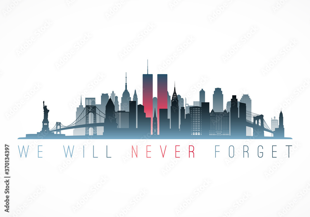 Fototapeta Patriot Day banner. New York city skyline with Twin Towers. September 11, 2001 National Day of Remembrance. World Trade Centre. Vector illustration.