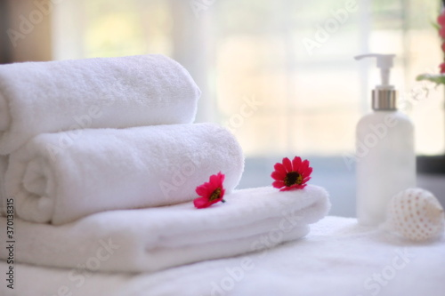 spa setting with towels Fototapet