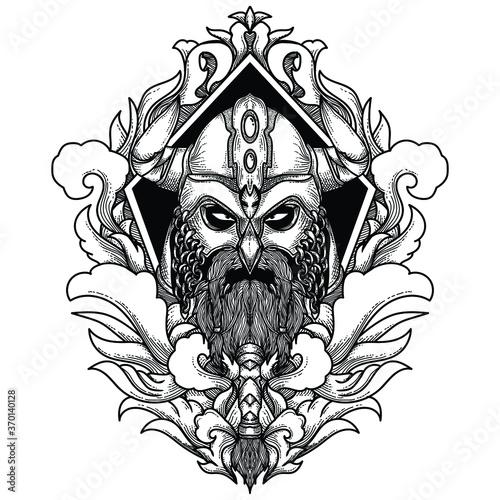 tattoo and t-shirt design black and white hand drawn viking head engraving ornam Canvas Print