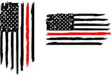 Firefighter Flag, EPS 10, Fire...
