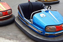 Old Empty Electric Bumper Cars In Autodrom In Fairground Attractions At Amusement Park.