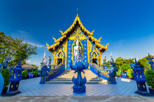Wat Rong Suea Ten Or The Blue Temple Is Above All Its Magnificent Blue Interior At Chiang Rai, Thailand