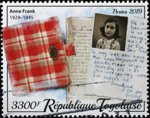 The Diary Of Anne Frank On Postage Stamp