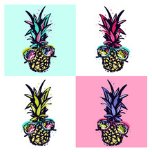 Pineapple Pop-art Vector Illus...