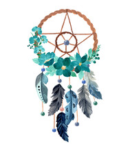 Dream Catcher With Green Floral Watercolor