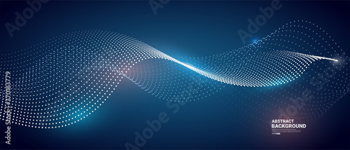 Valokuva Abstract blue background with flowing particles