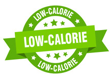 Low-calorie Round Ribbon Isolated Label. Low-calorie Sign